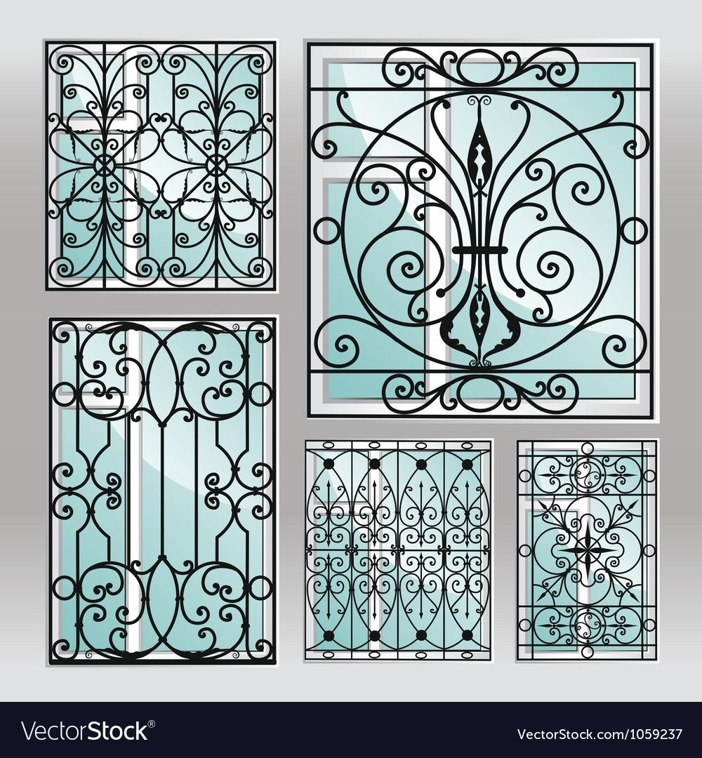 Set Of Iron Window Latticies Royalty Free Vector Image Ad Window Latticies Set Iron Ad Iron Windows Wrought Iron Design Iron Wall Decor