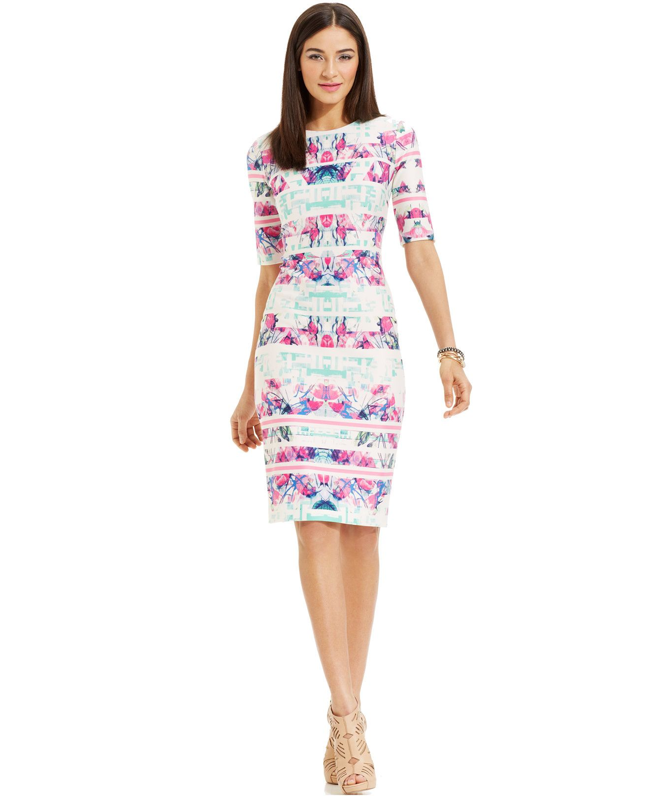 Vince Camuto Elbow-Sleeve Printed Scuba Sheath - Dresses - Women ...