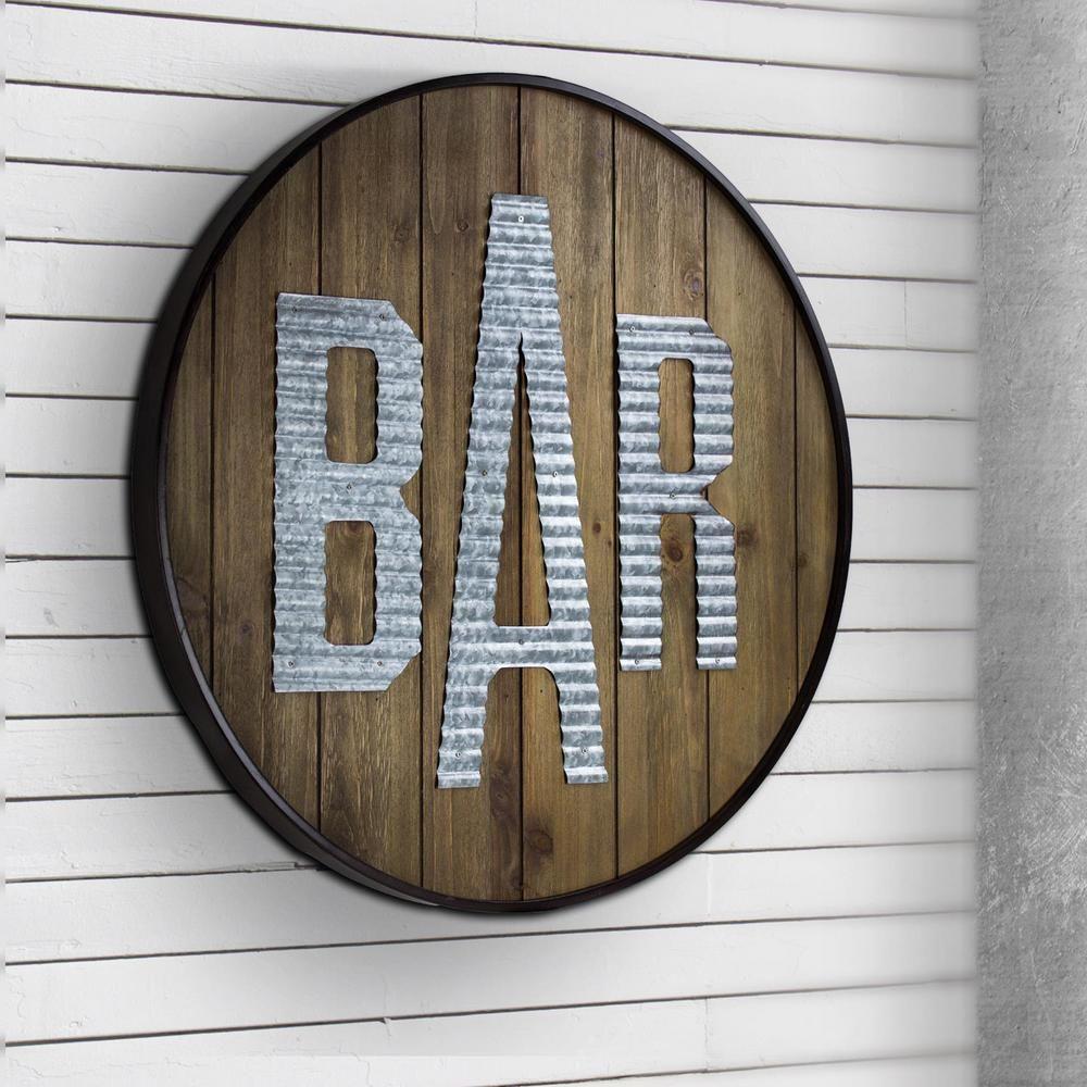 Crystal art gallery round rustic wood galvanized metal bar