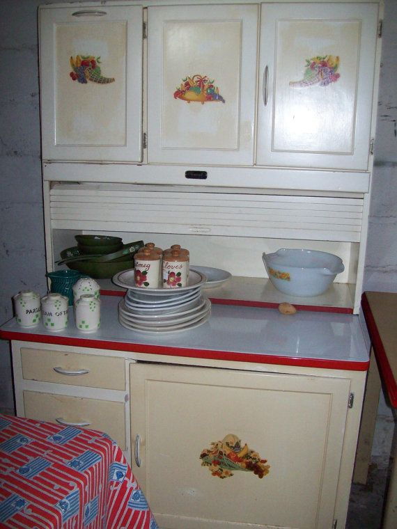 Vintage Kitchen Pantry Hoosier Cabinet Red and by roosteriver, $595.00