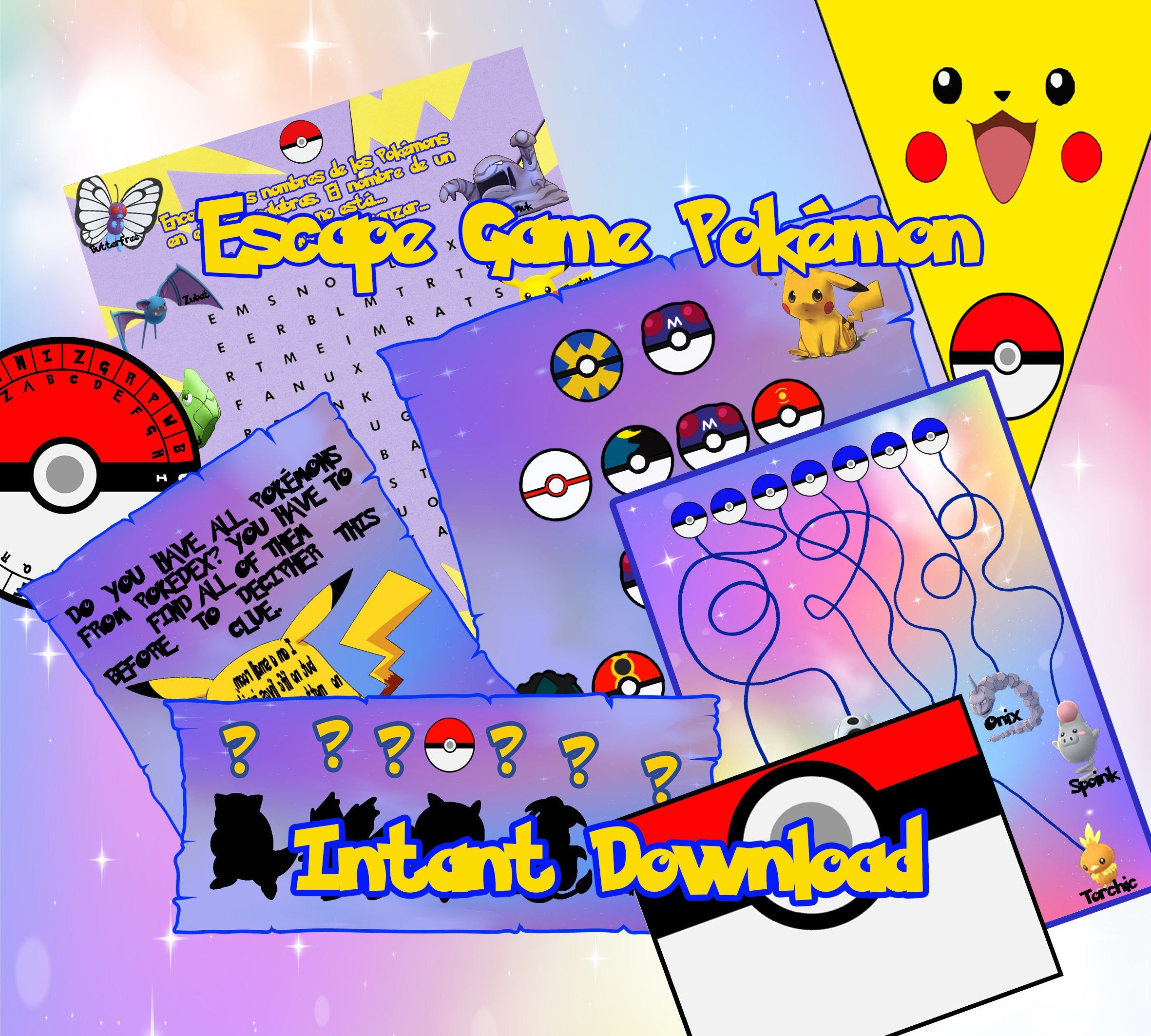 Escape Room Pokemon Game Hunt Print And Play Party Stay Home Birthday Family Pokeball Pikachu Kids Pokemon Go Mine Habitación De Escape Pokemon Go Pikachu