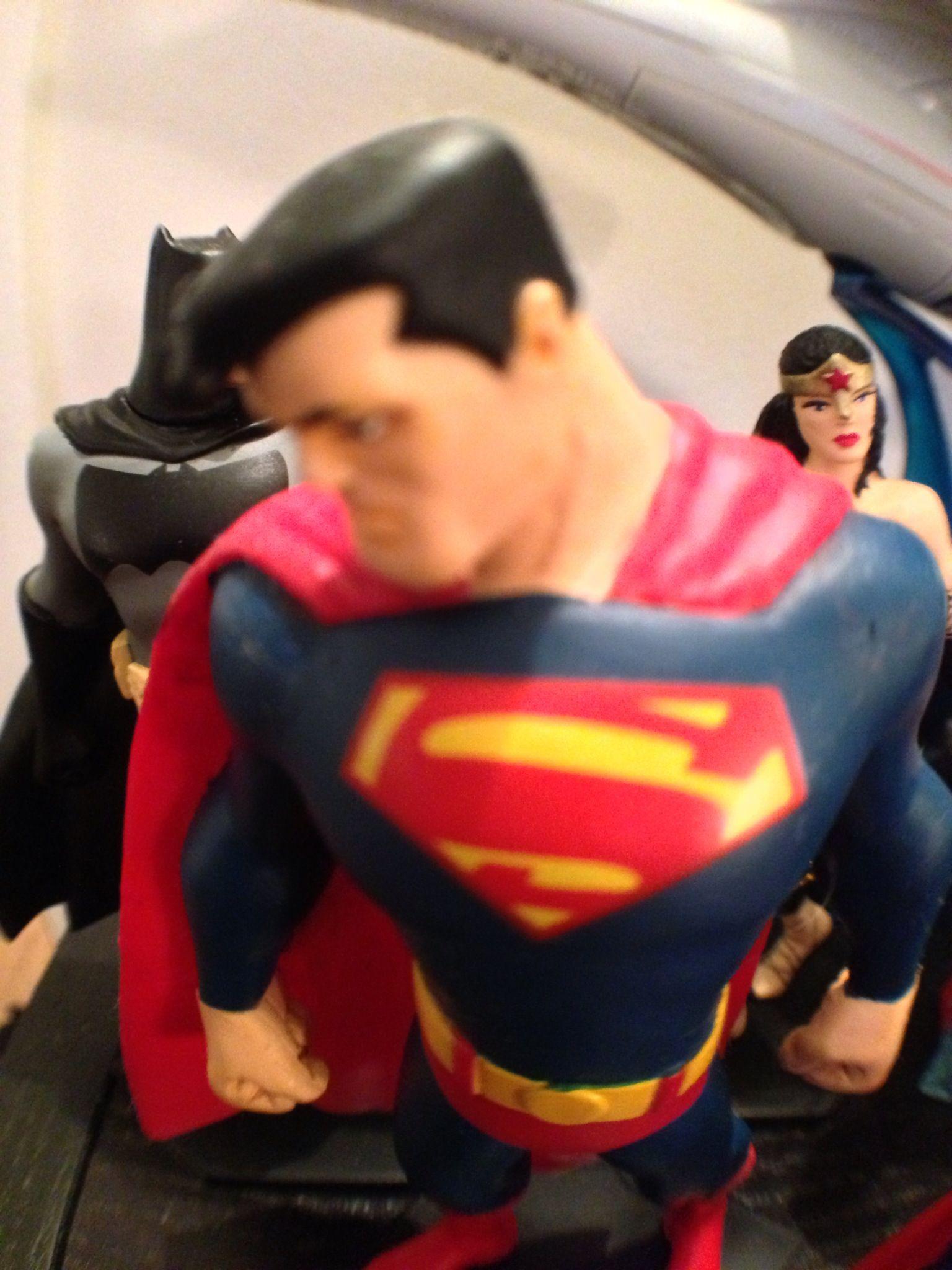 Superman, Batman and Wonder Woman photographed by Kevin Cardani on the iPhone 5 using the Instagram app #superman #toys #actionfigure #DC #batman #wonderwoman