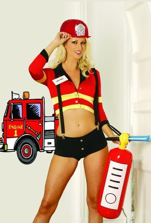 0ce9151dc70 FANCY DRESS 5PC FIRE WOMAN COSTUME   FIREFIGHTER - FIRE FIGHTER OUTFIT    QTFD FIRE UNIFORM - SEXY RED FEMALE COSTUMES