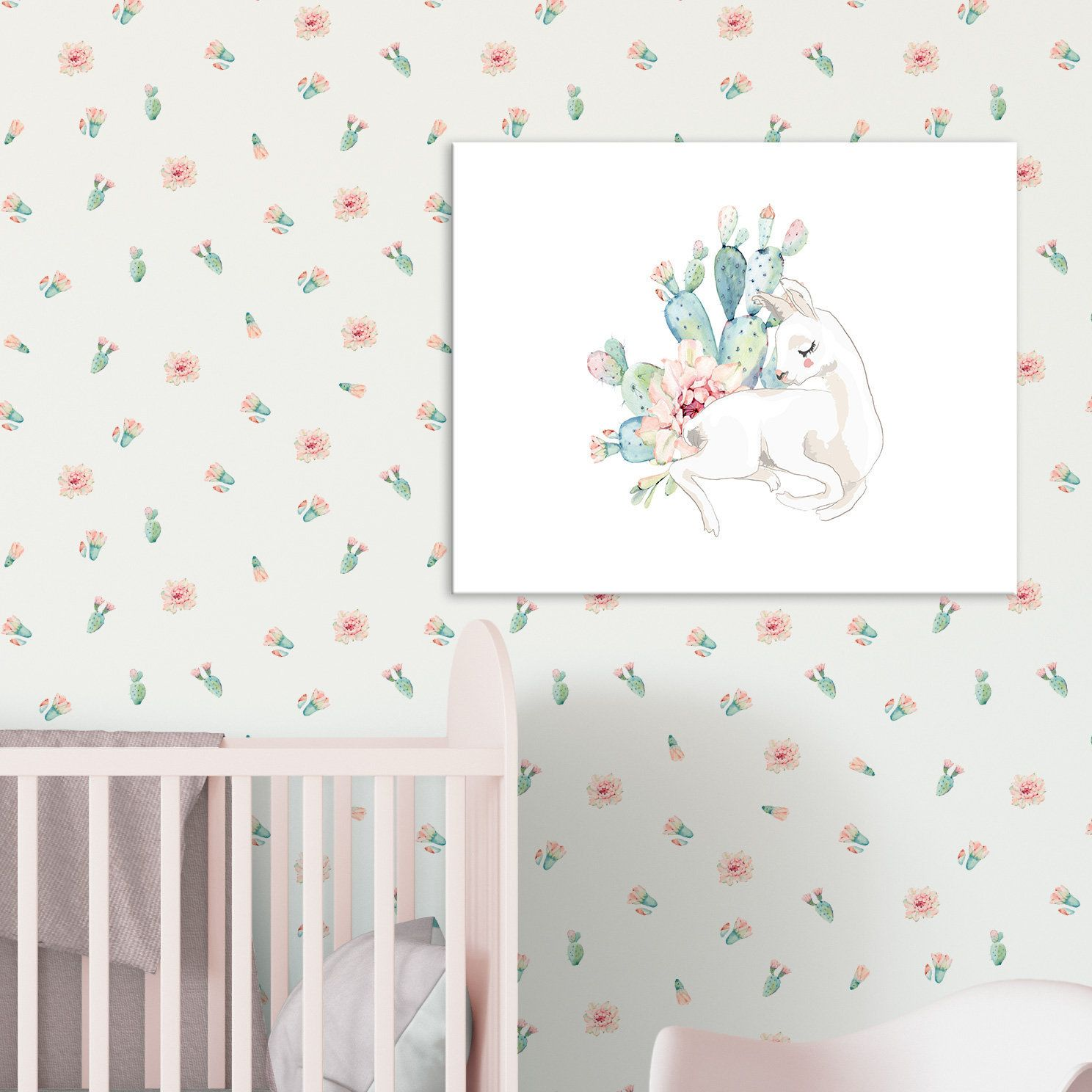 Pink Floral Wallpaper Shabby Chic Feature Wall Removable Etsy Pink Floral Wallpaper Floral Wallpaper Baby Girl Nursery Wallpaper