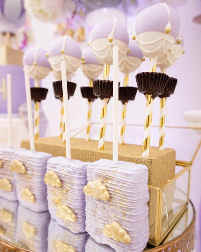 Celebrate Your New Baby Girl With This Gorg Purple U0026 Gold Hot Air Balloon  Baby Shower Featured Here At Karau0027s Party Ideas.