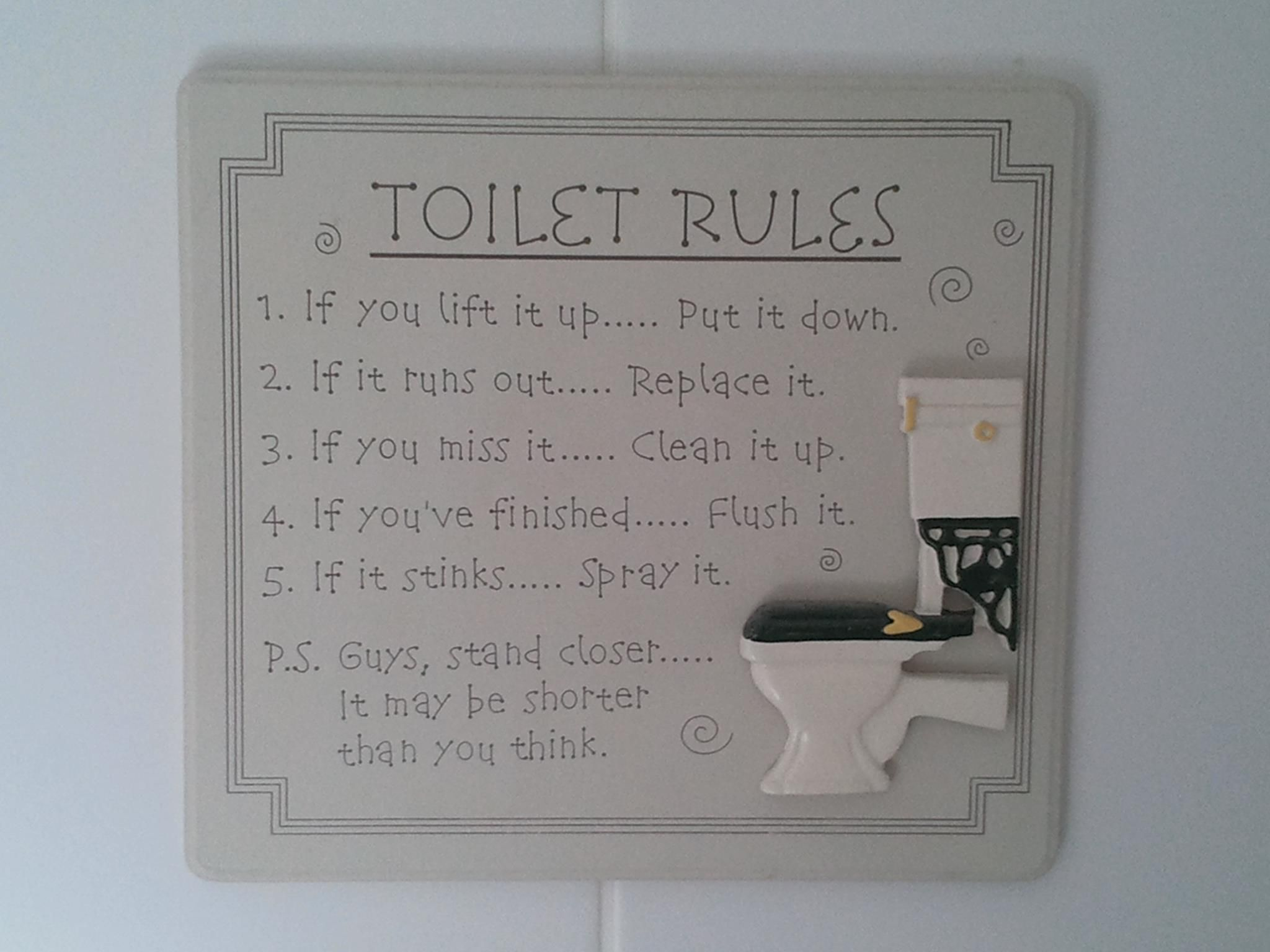 Toilet Rules Funny Toilet Signs Toilet Rules Bathroom Rules Sign