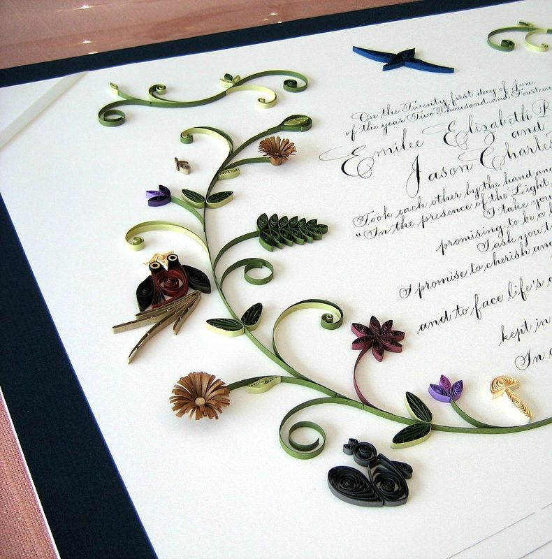 Quilled Quaker Marriage Certificate - look at the quilled animals!