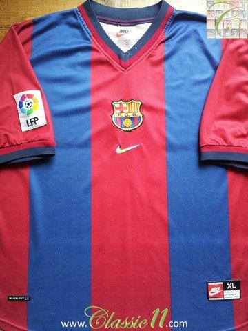 025b1740d05 Relive Barcelona s 1998 1999 La Liga season with this vintage Nike home football  shirt.