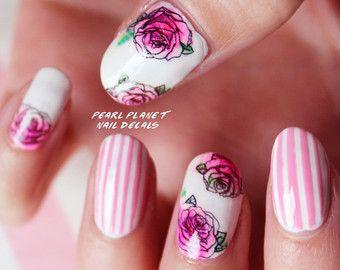 ROSE TATTOO PACK - elección de dos, Bnw o Pastel vieja escuela Pin Up rosa tatuaje agua Deslice uñas calcomanías, ilustraciones originales!
