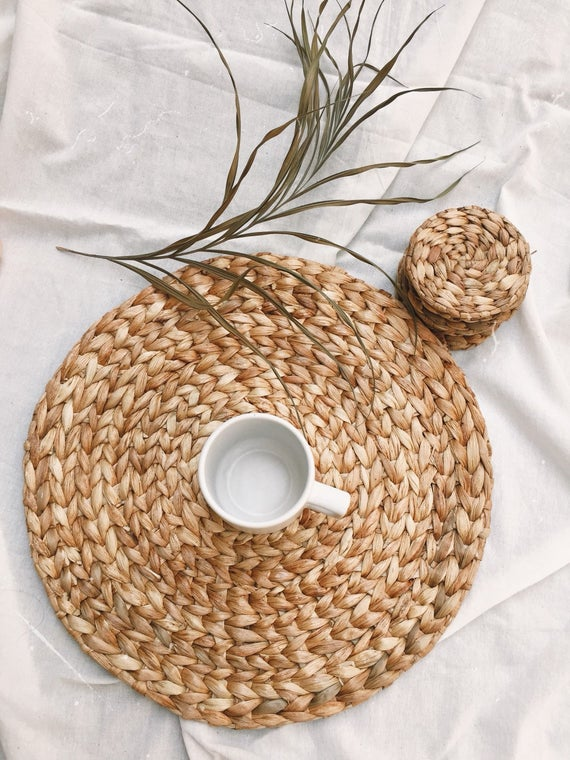 Boho Placemats Natural Placemats Vintage Woven Braided Etsy In 2021 Natural Placemats Wicker Placemats Placemats