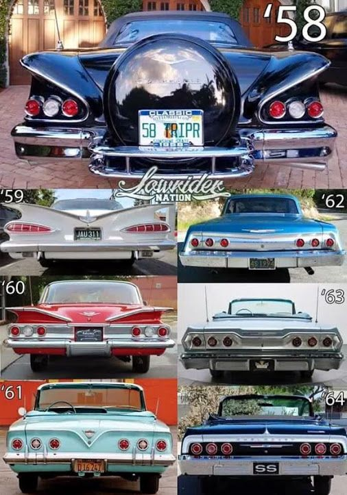 1958 1964 Chevrolet Rear Identification Chart Voitures Anciennes Photo De Voiture Voitures Retro