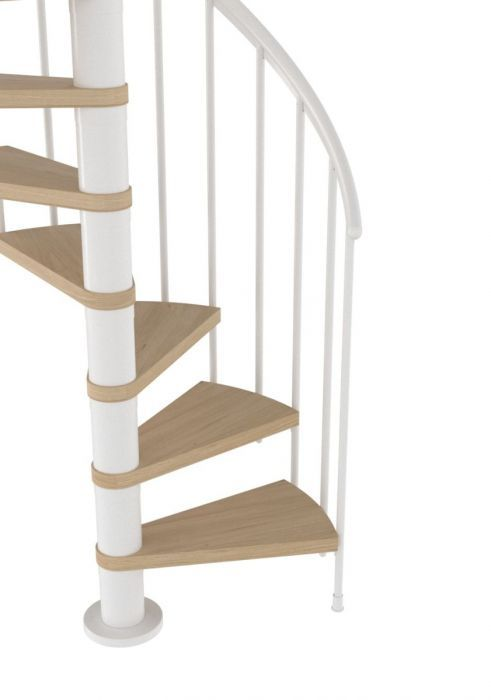 Best Dolle Montreal White Spiral Stair Kit 1200Mm Oak 640 x 480