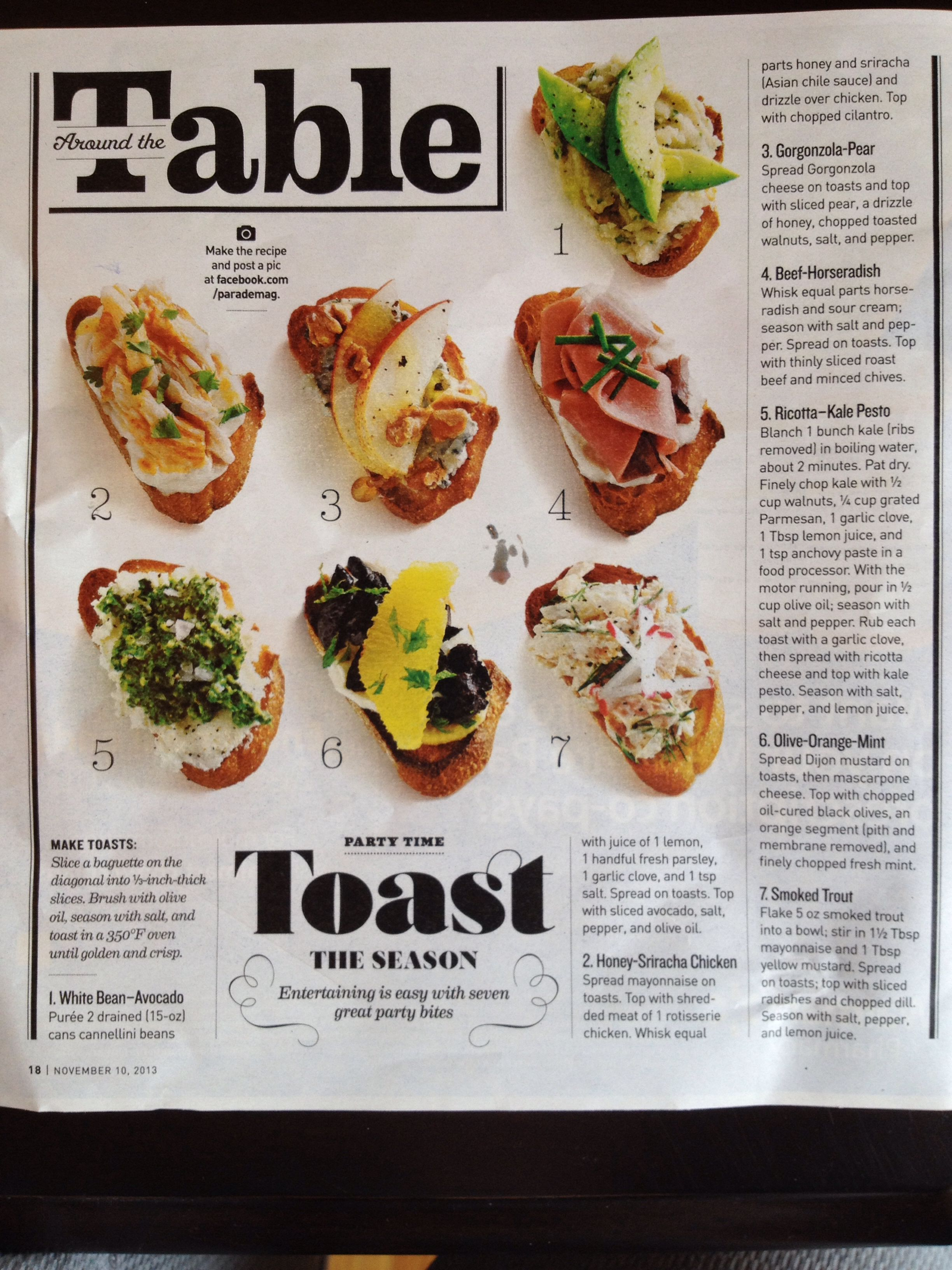 Toast of the Season - appetizer ideas in Parade magazine