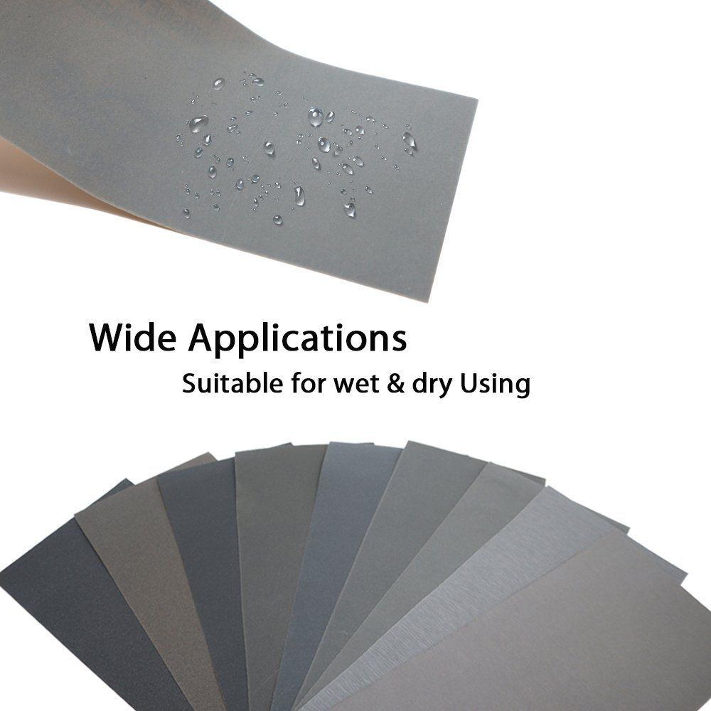 45pcs Wet Dry Sandpaper 400 600 800 1000 1200 1500 2000 2500 3000 Grit Assorted Sanding Sheets For Automotive Polishing Wet And Dry Sanding Wood Wood Furniture