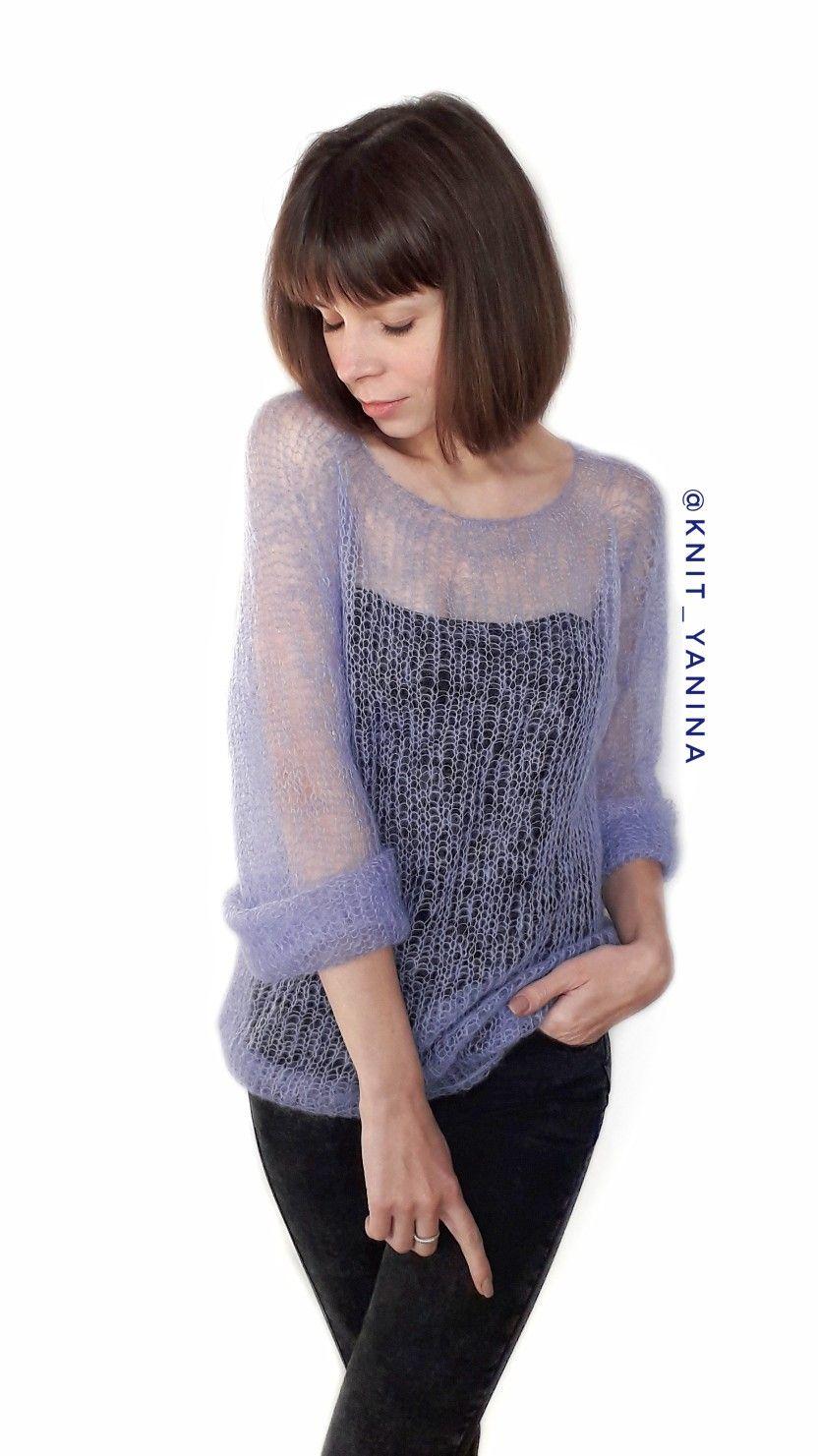 Knit Mohair Sweater Size S Price 50 свитер паутинка из кид