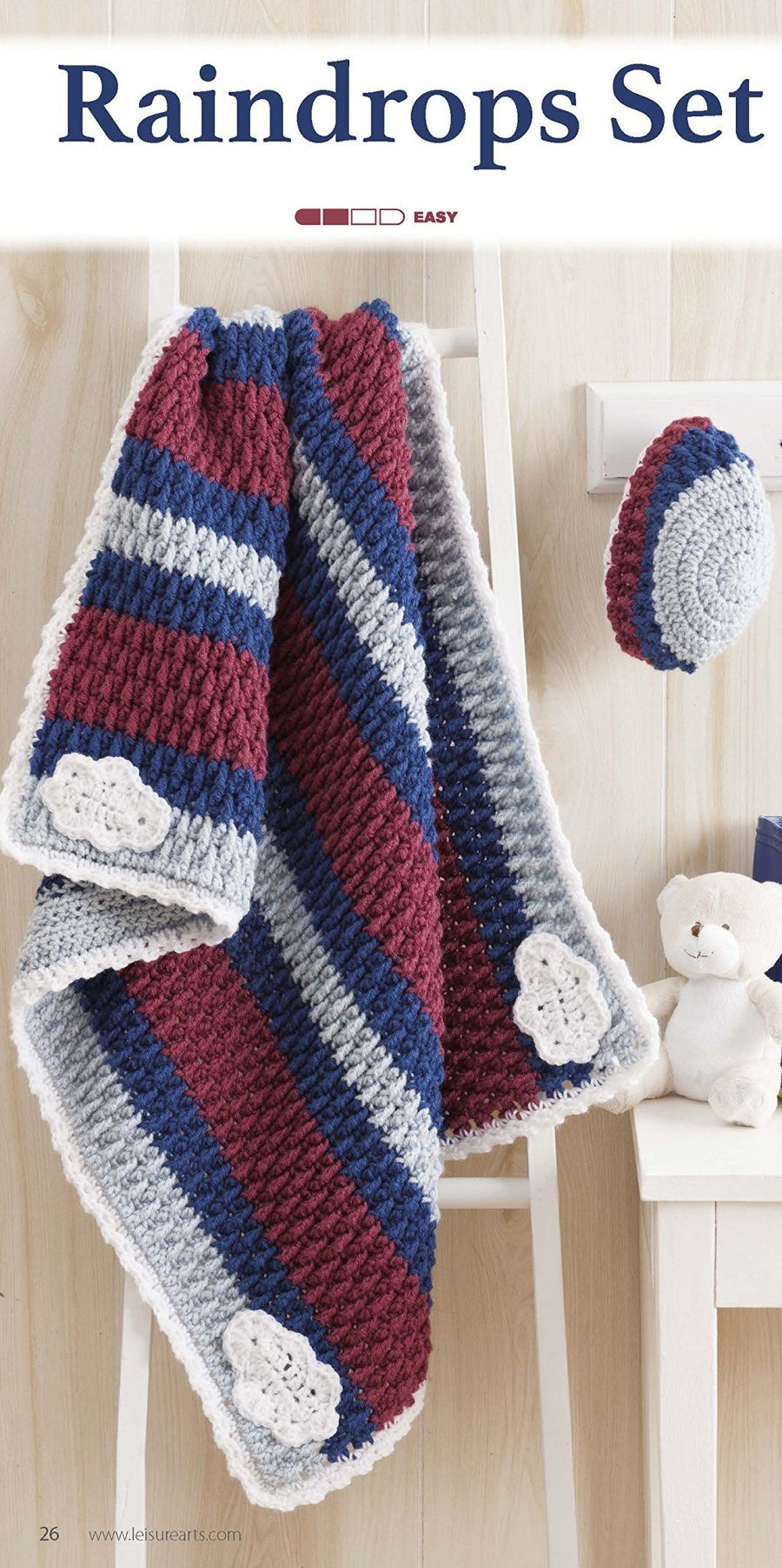 Nature's Gifts for Baby | Crochet Pattern - Matching baby blanket and hat -  rain drops