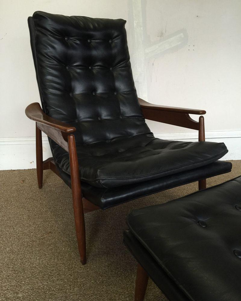 Milo Baughman Mid Century Danish Modern Black Scoop Lounge Chair Ottoman  Tufted #MiloBaughman
