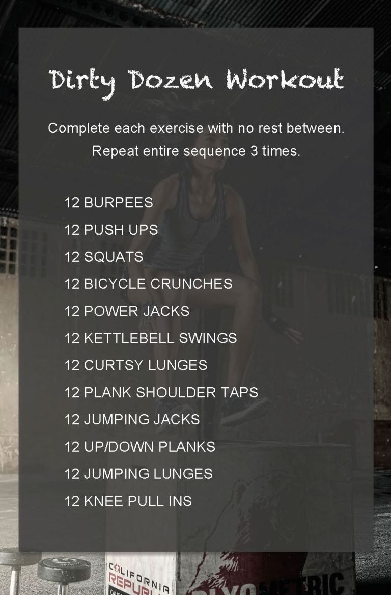 Workout Routine   Dirt Dozen Workout   Experiments In Wellness