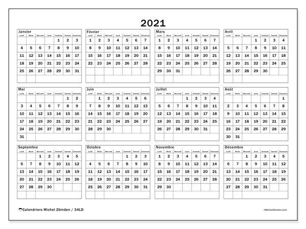 "Calendrier ""34LD"" 2021 à imprimer en 2020 | Calendrier à imprimer"