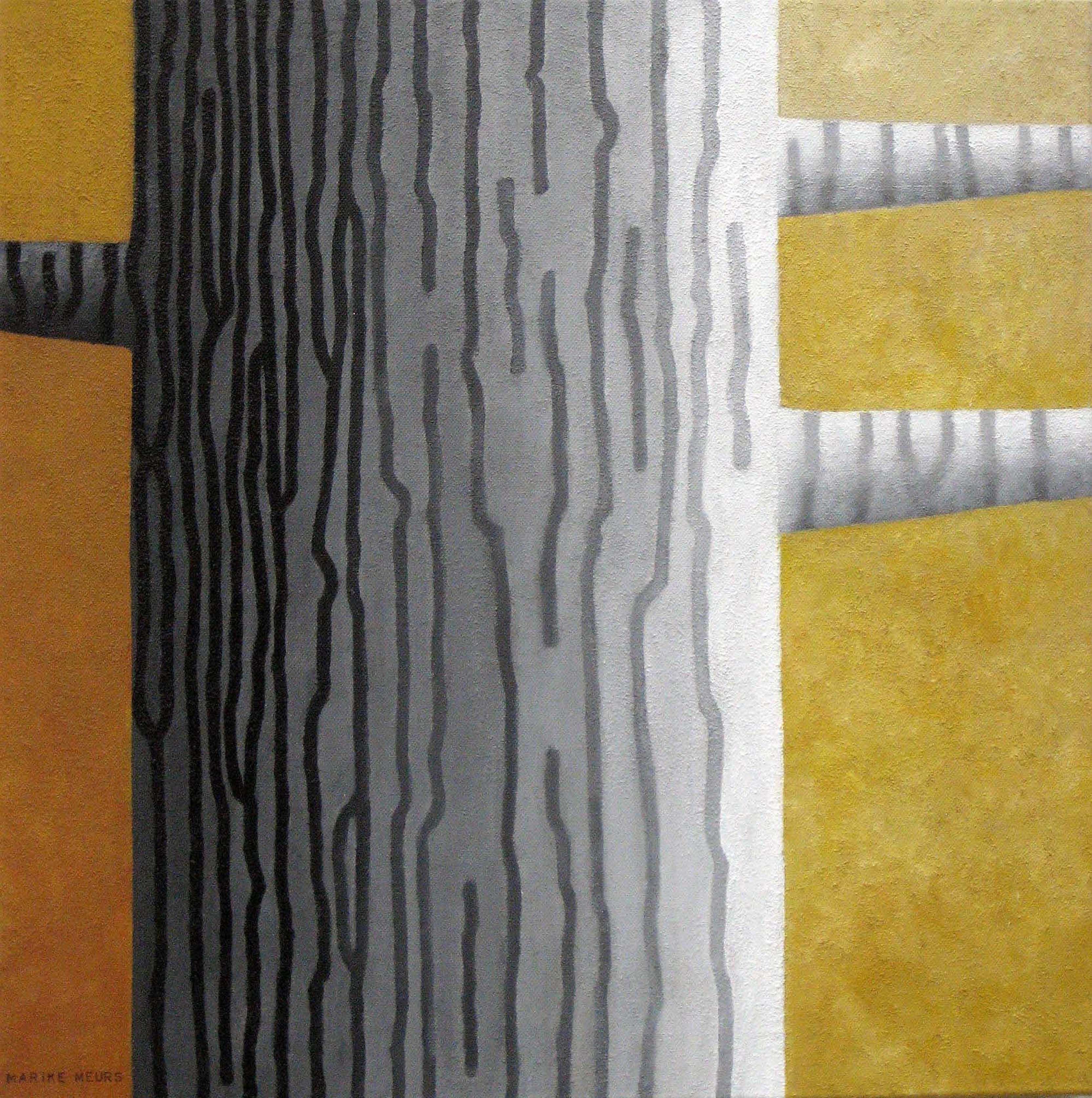 Marike Meurs. Streepjesboom. Uit de serie 'dichter bij bomen' Acryl en zand op doek