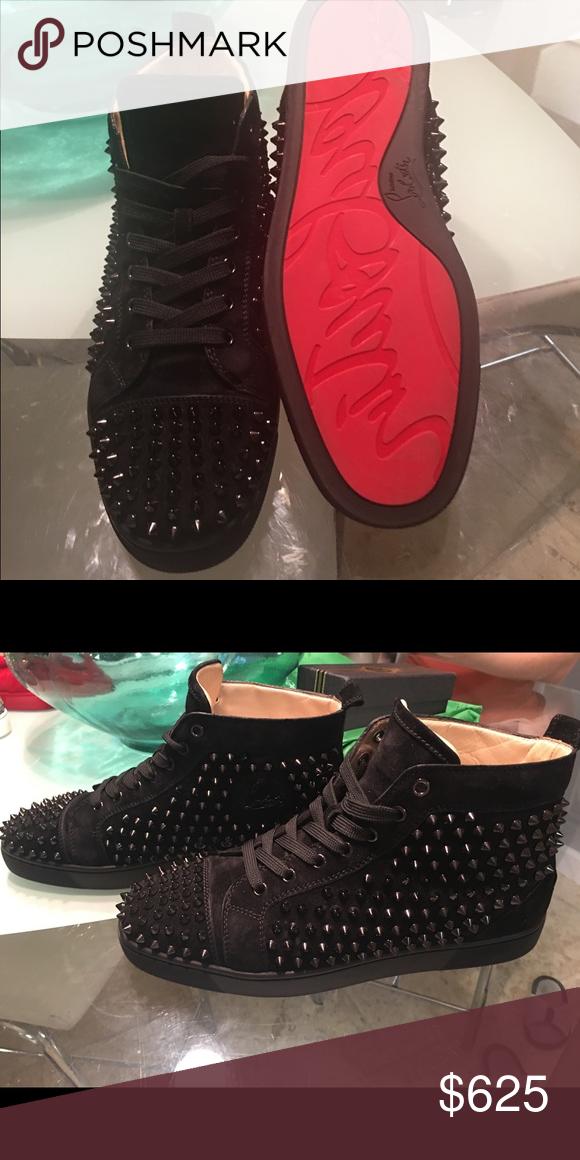 8b531671cc7 Original Mens Louboutin sneakers 42 mens euro (9.5 us) black suede ...