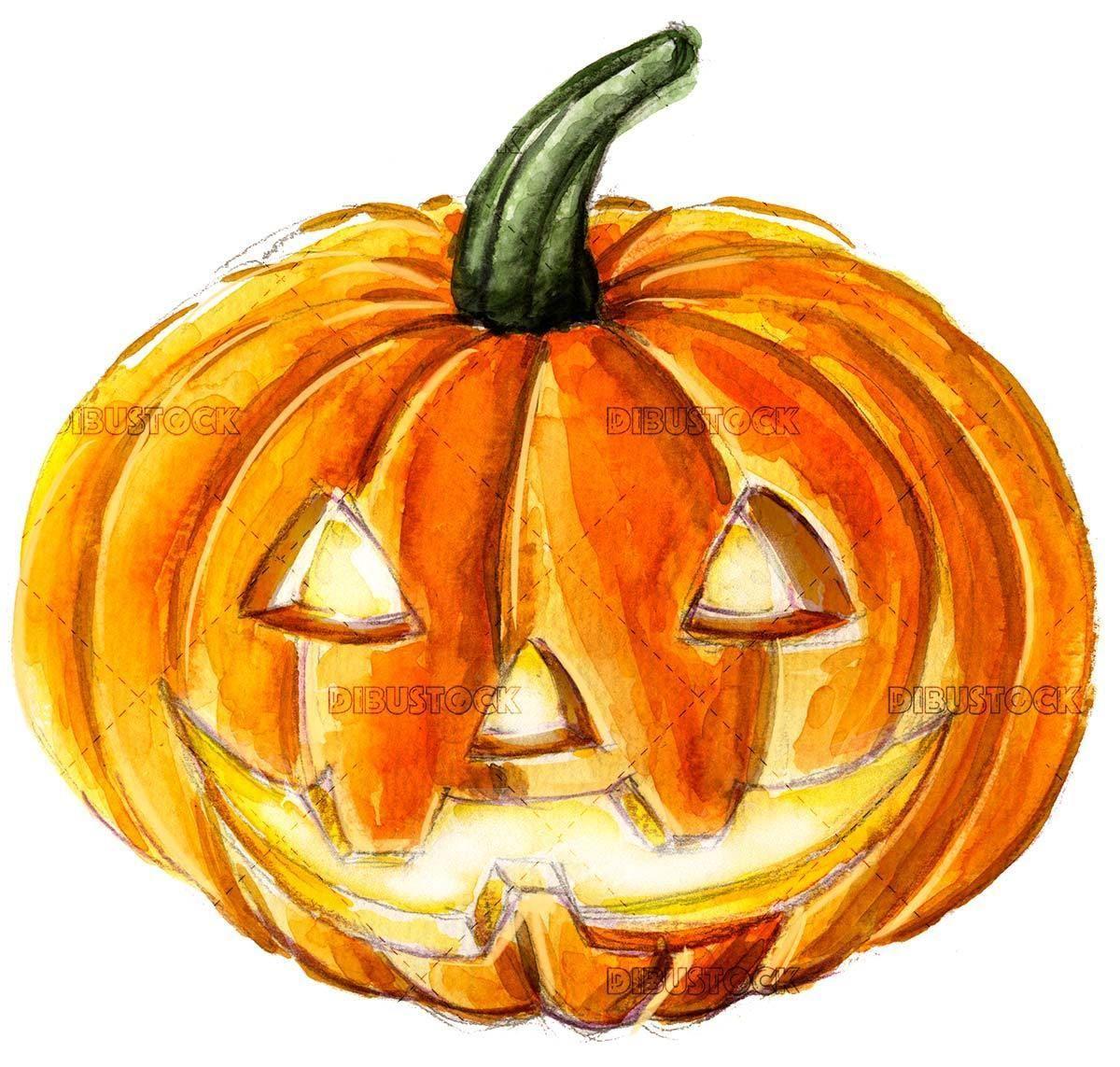 Halloween Pumpkin In Watercolor Ilustración De Halloween Dibujo De Calabaza Arte De Halloween