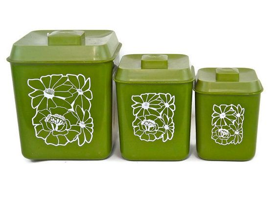 Green Kitchen Canisters Vintage Kitchen Canisters Green Kitchen