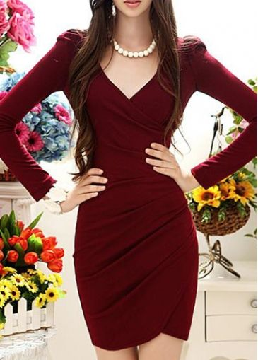 398303f6d052b Elegant Wine Red V Neck Long Sleeve Wrap Dress | Dresses | Fashion ...