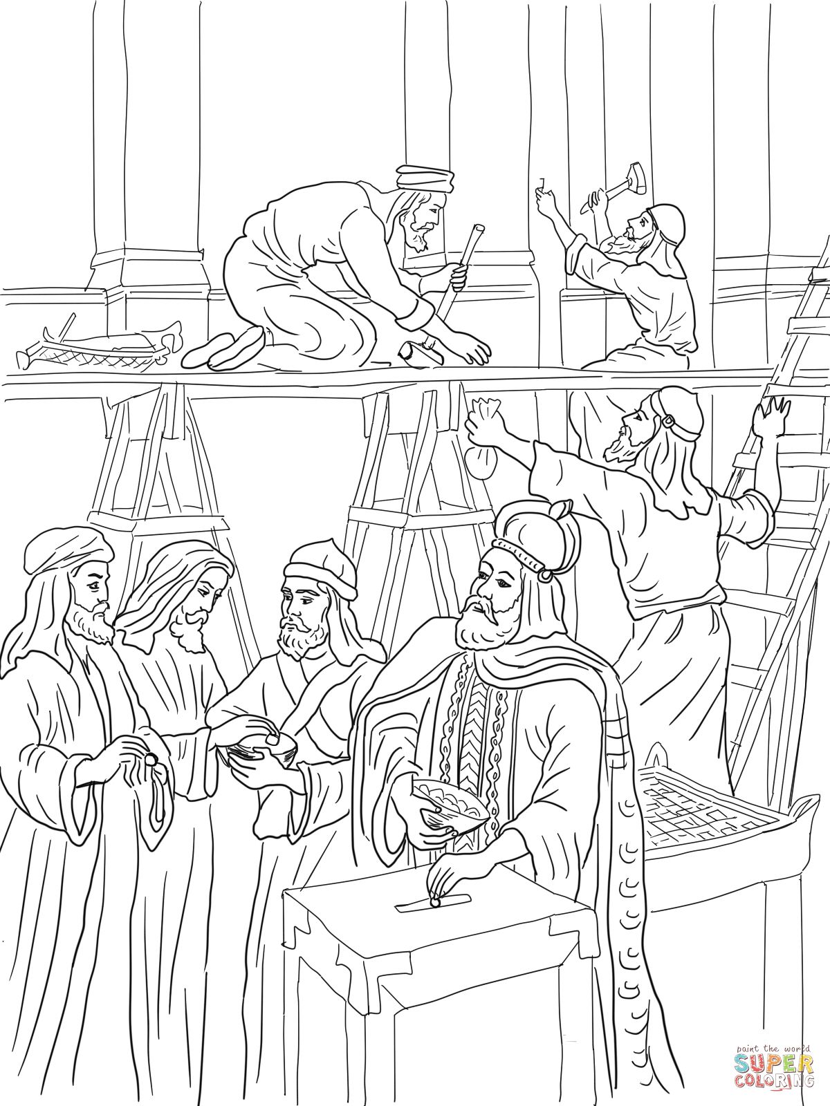 Joash Repairs The Temple Coloring Page Supercoloring Com Bible