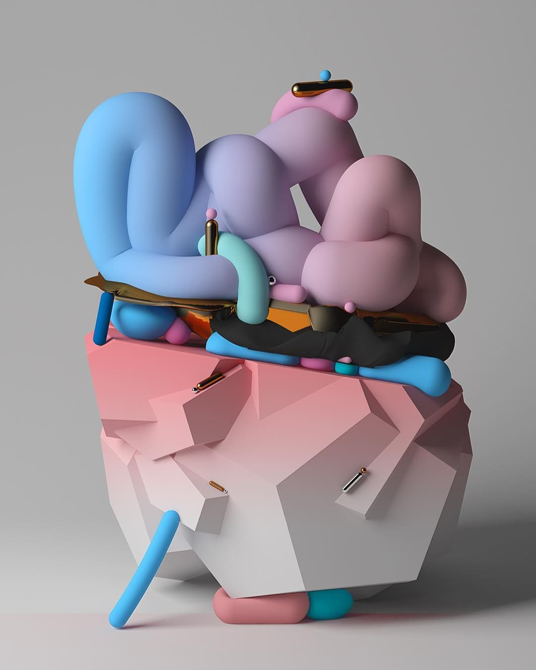<p>Madrid and Paris based artist Boldtron renders 3D sculptures in his series Fantasaraxia. Created with Cinema4D, the abstract shapes are composed of colorful gradients juxtaposition with metallic hu