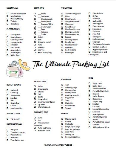 The Ultimate Packing List Printable  Ultimate Packing List