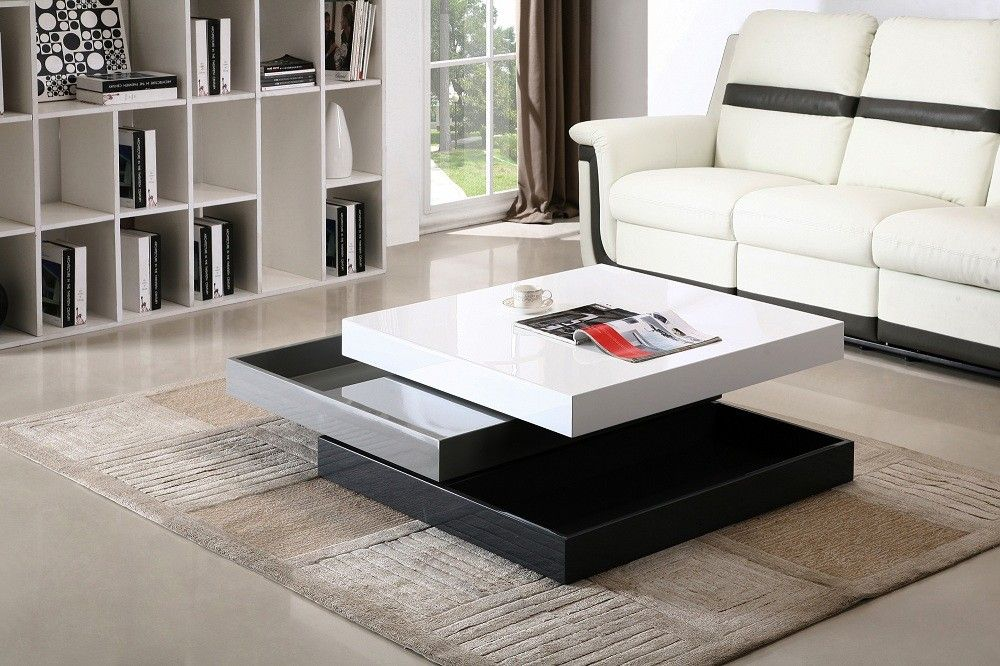 Furniture Fabulous Leather White Sofa Plus Modern Square Tiered Coffee Table Design Feat Rectangle Living