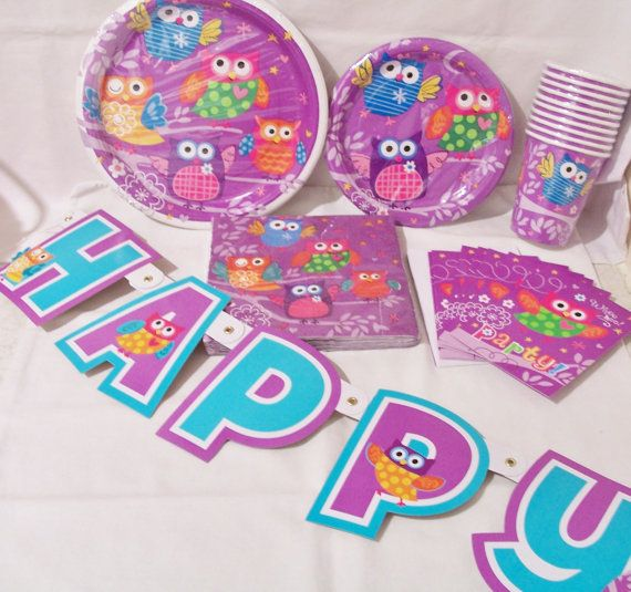 6 Piece set of owl party supplies birthday by SparkleandComfort