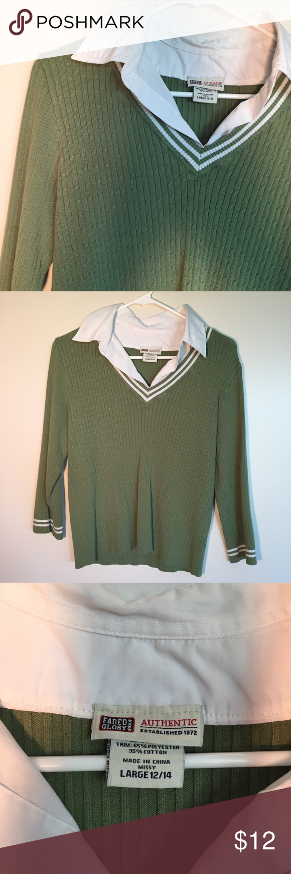 Faded Glory Sweater With Built In Collar My Posh Picks Sweaters