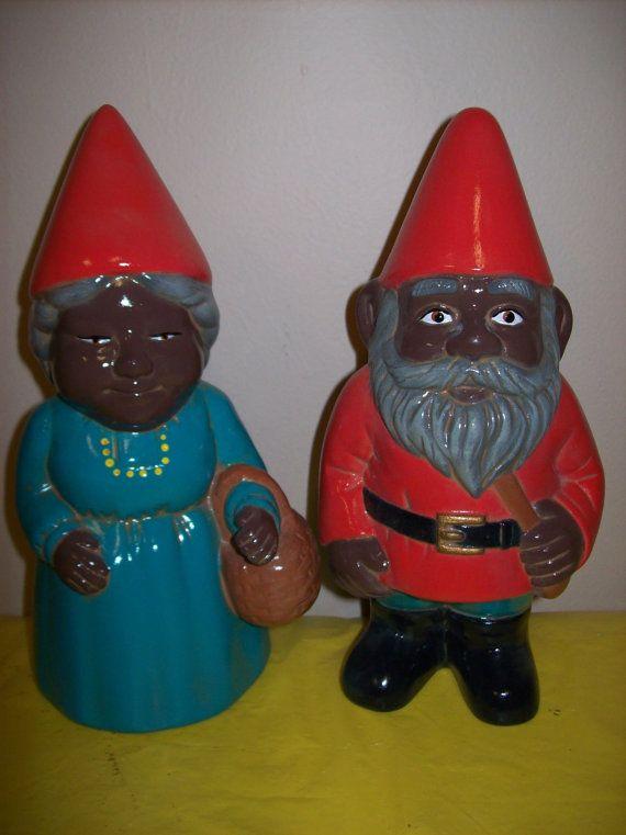 Gnome Garden: Ceramic African American Gnome Couple Garden Ornaments