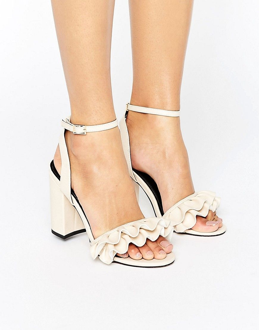 35f8a0445a5 Miss Selfridge Ruffle Heeled Sandal - Beige