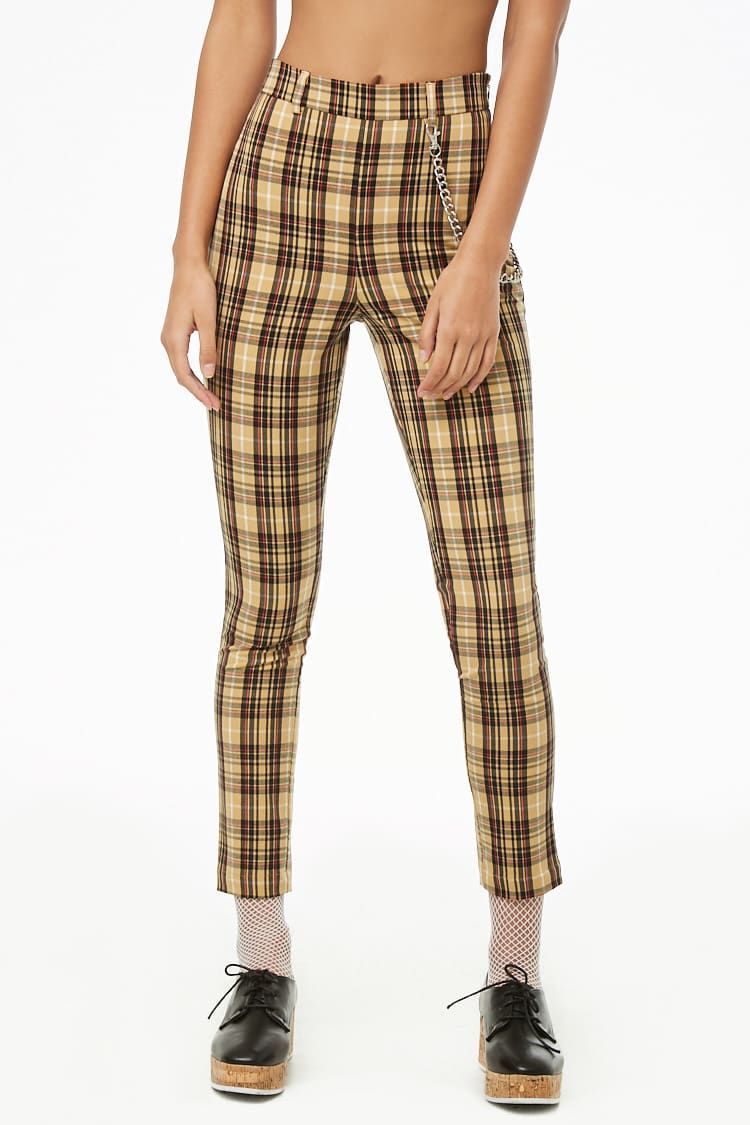 b18c963d18b9 Chain-Accent Plaid Skinny Pants