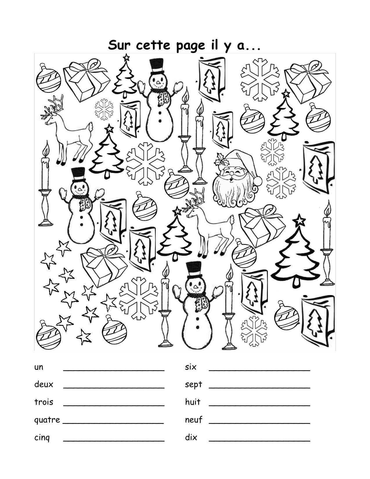 French Christmas vocab sheet, includes practice with