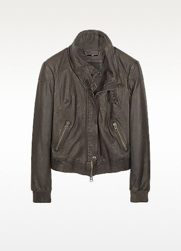 €690.00 | Washed leather effects enhance the soft, supple quality of this premium leather motorcycle jacket. Zip up front, buckle detail at the collar and elasticized wrist and waist bands. Cotton lined interior and lightly padded. Made in Italy.
