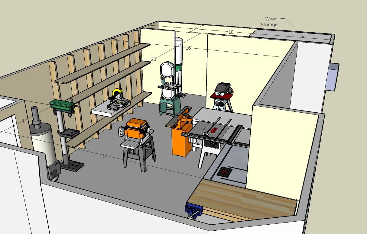 Woodworking shop floor plans view the photo gallery for Garage layout planner online