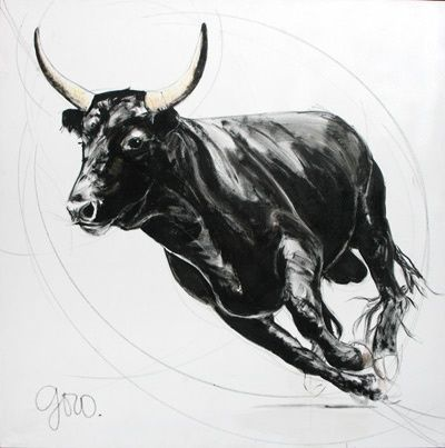 Photos taureau camarguais peinture page 2 art tableau dessin taureau camargue taureau et - Dessin tete taureau ...