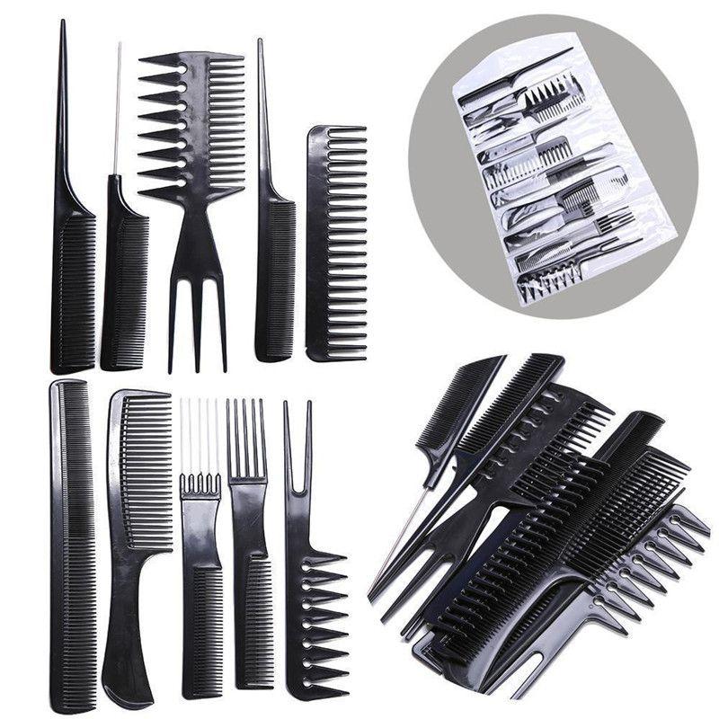 Pro 10pcs Salon Hair Styling Comb Set Hairdressing Hairdresser Barbers Brush
