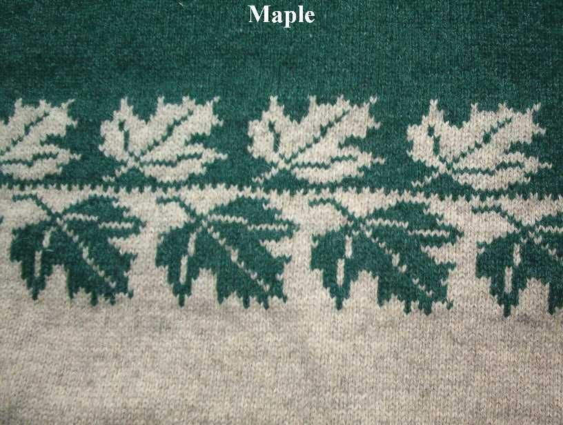Some brilliant repeating knitting motifs on this page (Maple leaf ...