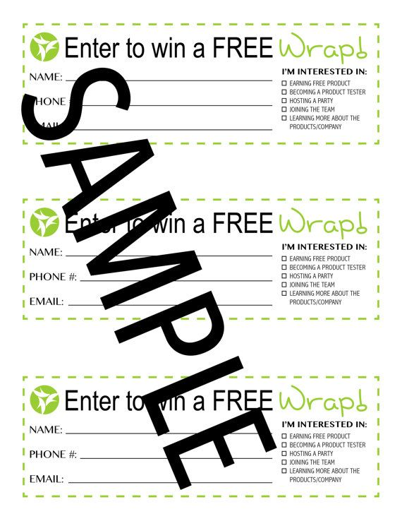 Use these lead slips at wrap parties to do a door prize drawing - pay in slips