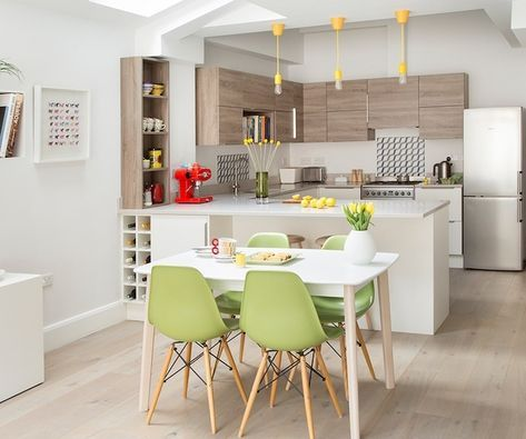 ▷ 1001 + idées pour aménager une cuisine ouverte dans l\u0027air du - cuisine verte et blanche