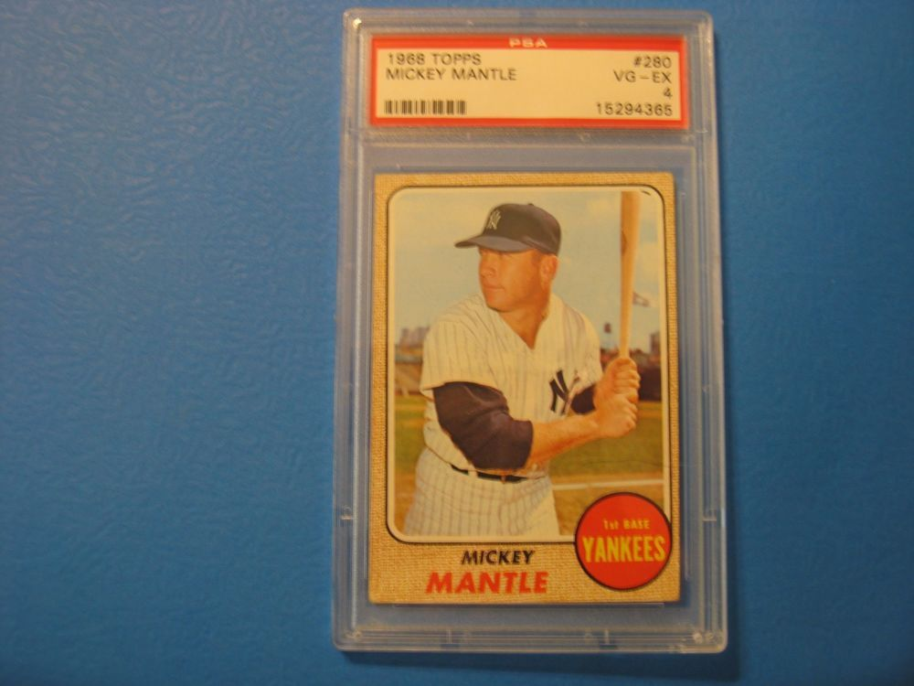 Mickey Mantle 1968 Topps 280 Graded 4 Psa Book 350 Baseball Cards For Sale Mickey Mantle Mantle