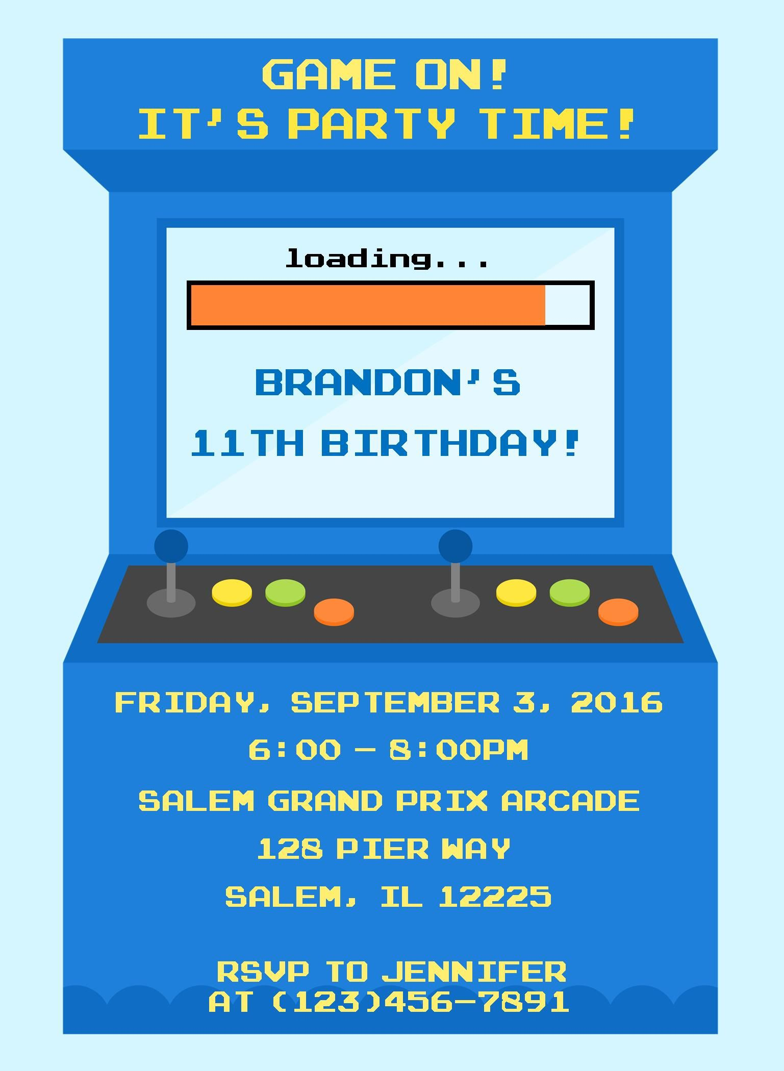 Video Game Birthday Invitation Arcade Birthday Invitation Video - Birthday invitation video