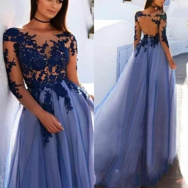 A-Linie Bateau Langarm Open Back Dunkelblau Abendkleid mit Applikationen   – Prom dresses