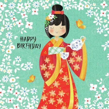 Helen Rowe Japanese Lady And Tea Jpg Happy Birthday Images