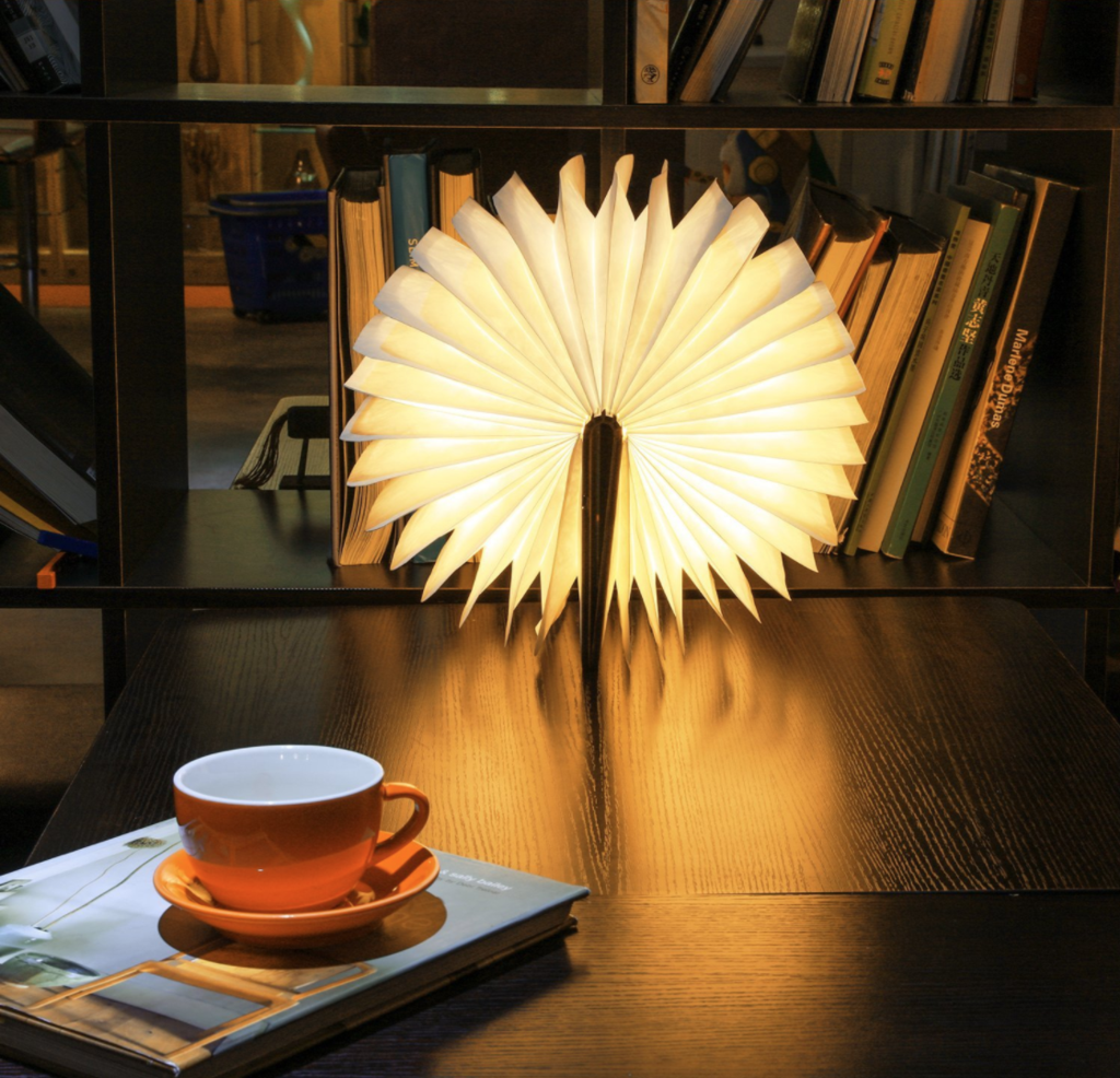 Luminate Led Folding Wooden Light Book Lamp Award Winning Design Luminate Light Book With Images Wooden Light Book Lamp